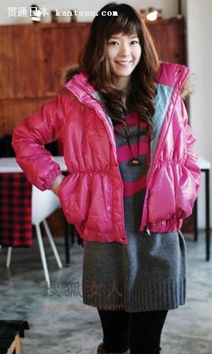 粉色大衣搭配长衫